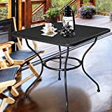Homevibes 30″ Outdoor Patio Dining Table Top Bistro Table Top Umbrella Stand Square Deck Furniture Garden Table Powder-Coated Steel Frame, Ash Black