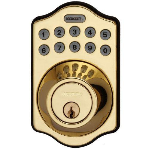LockState LS-DB500-PB Electronic Keyless Deadbolt, Polished Brass