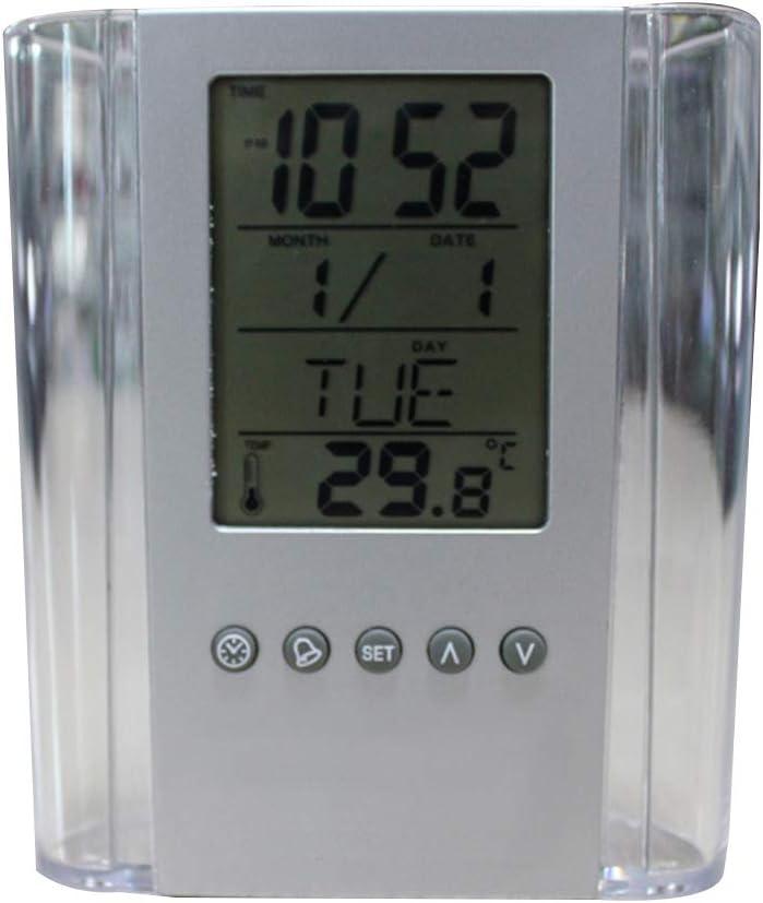 lorsoul Digital Desk portapenne Display LCD Titolare dellorologio del Calendario del Ministero Scuola Calendario del termometro di visualizzazione Matita Container