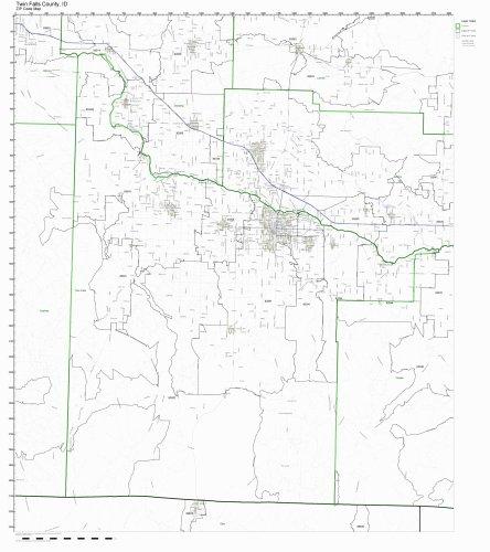 Twin Falls County, Idaho ID ZIP Code Map Not Laminated