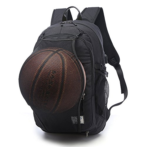 (KEYNEW Basketball Bag Football Travel Laptop Backpack with with Card Organizer on Shoulder Strap,Luggage Strap,USB Charging Port fits 15.6 inch Laptop Casual Hiking Daypack)