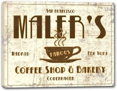 MALER'S Coffee Shop & Bakery Gallery Wrapped Canvas Sign 3 SIZES AVAILABLE - 16