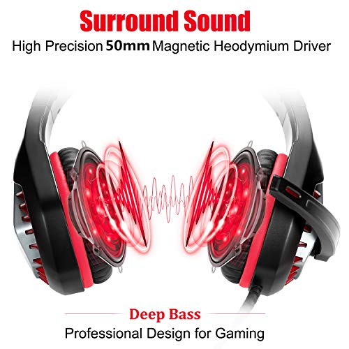 Pacrate Gaming Headset with Microphone for Laptop Xbox One Headset PS4 Headset with Mic Surround Sound Gaming Headphones with Microphone Nintendo Noise Canceling PC Headset LED Lights for Kids Adults