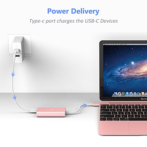 USB-C to Ethernet Adapter, Type c to 1 USB C Power Delivery +1 Gigabit Ethernet 10/100/1000 Mbps LAN Network for MacBook,Google Chromebook Pixel and more Type C Devices (Pink Gold) by Flujo (Image #2)