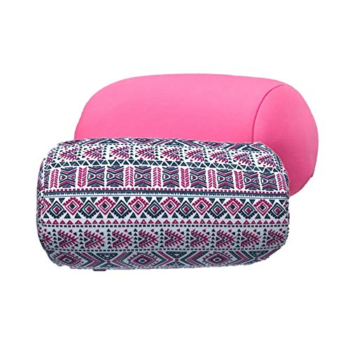 (Bookishbunny 2pk Micro Bead Bolster Tube Pillow Cushion for Car Sofa Bed Room Decoration, Back Neck Head Body Support - Squishy and Cool Fabric, Odorless, Hypoallergenic (Pink/Tribe))