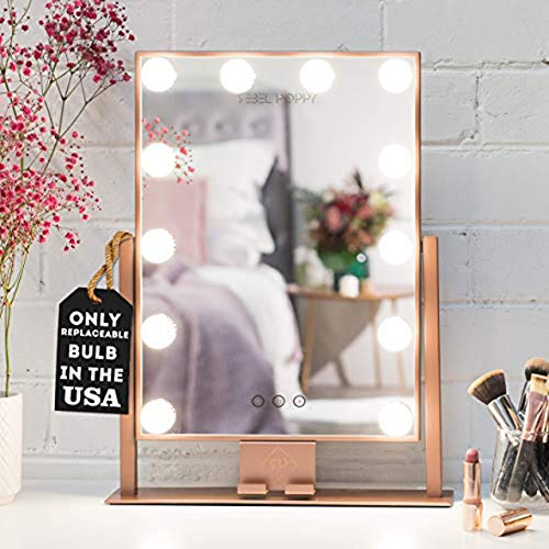 REBEL POPPY Vanity Mirrors with LED Lights - Phone Mount, 3 Lighting - Bathroom Defogger Fan Mirrors