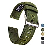20mm Canvas Quick Release Watch Band Army Green Replacement Watch Straps for Men Women