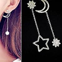 1Pair Korean Women Rhinestone Ear Stud Earring Dangle Star Moon Tassel Jewelrys