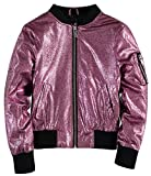 Urban Republic Girls' Metallic Glitter Bomber Jacket (Light Pink, 10-12)