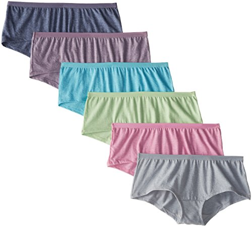 Fruit of the Loom Women's Underwear Beyond Soft Panties (Regular & Plus Size), Boyshort-6 Pack-Assorted Color, 5