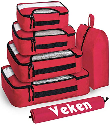 - Veken 6 Set Packing Cubes, Travel Luggage Organizers with Laundry Bag & Shoe Bag