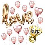 Sharlity Rose Gold Love Balloon Set - Engagement Diamond Ring Balloon Romantic Wedding Bridal Anniversary Party Decoration