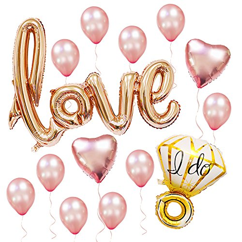 Sharlity Rose Gold Love Balloon Set - Engagement Diamond Ring Balloon Romantic Wedding Bridal Anniversary Party Decoration