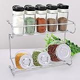2-Tier Spice Rack, EZOWare Silver Kitchen Countertop 2-Tier Storage Organizer Spice Jars Shelf Holder Rack