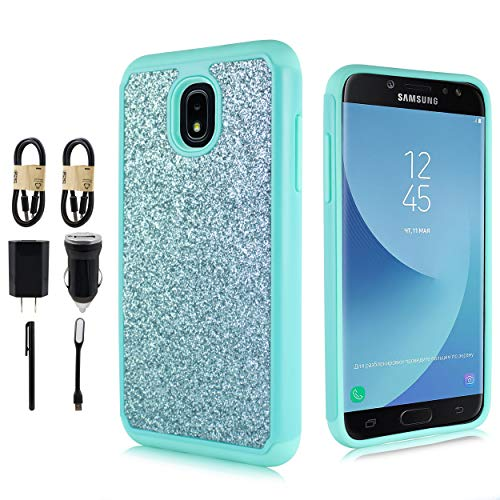 - for Samsung Galaxy J3 2018, J3V J3 V 3rd Gen,Express Prime 3, J3 Star, J3 Achieve, Amp Prime 3 Glitter Case Bling Dual Layer Protective Phone Cover [with Screen Protector] [Value Bundle] (Teal)