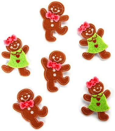 Candy Canes - Gingerbread Snowflake Santa Pack of 6 Over 150 Stickers Trees Darice Felties Christmas Holiday Felt Stickers