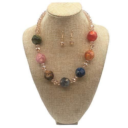 (JHWZAIY Elegant Handmade Acrylic Glass Pearl Stone-Beaded Necklace Earrings Set (Multicolor))