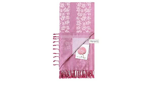 Turtle Bay - Toalla de playa / Pareo - Toalla de baño - Honeymoon Kikoy Towel Hawaiian Stripe - Color : Bonbon/Light Pink - Tamaño : 140 x 200 cms: ...
