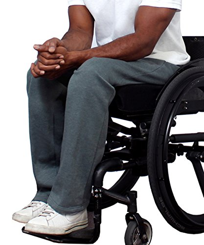 Silverts Disabled Elderly Needs Fleece Adaptive Wheelchair Pants For Men - Disabled Adults - Grey XL