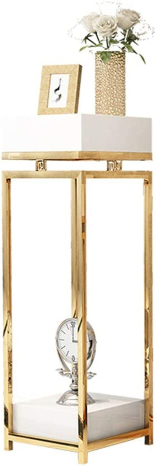 ガーデンラック 現代のフラワースタンド、メタル花ペデスタルは結婚式センターピース、花瓶のためのシンプルな四角柱の設計用スタンド 盆栽棚 (Color : Gold, Size : 35x35x90cm)
