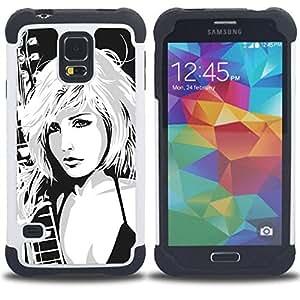 For Samsung Galaxy S5 I9600 G9009 G9008V - Girl Drawing Art Rock Music Blonde Babe Woman /[Hybrid 3 en 1 Impacto resistente a prueba de golpes de protecci????n] de silicona y pl????stico Def/ - Super Mar