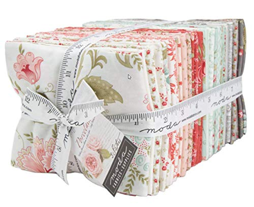 (Porcelain Fat Quarter Bundle 40 Precut Cotton Fabric Assortment by 3 Sisters for Moda Fabrics 44190AB)