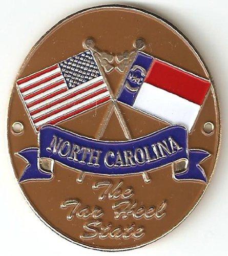 North Carolina & United States of America Flags - Hiking Stick Medallion - The Tar Heel State (Walking Staff Medallions)