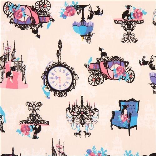 - cream Japanese canvas fabric with animals, items, Design: Kayo Horaguchi (per 0.5 yard unit)