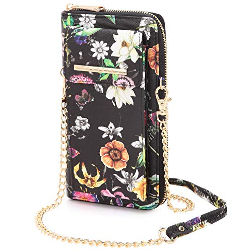 Cellphone Wallet Purse Phone Pouch Wristlet Clutch Crossbody Shoulder Bag – 12 Slots (Black Flower New)