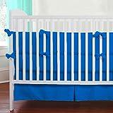 Nursery Baby Cradle Bedding Set 100% Egyptian Cotton 500 TC 3-Piece Set Fitted Sheet, Comforter, Bumper (Blue,Cradle)
