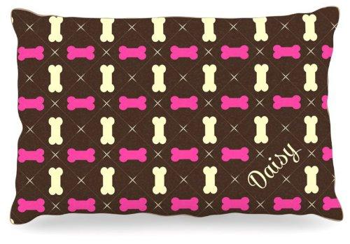 Large 30\ Kess InHouse KESS Original Chloe  Girl Bones Name Fleece Dog Bed, 30 by 40-Inch, Pink Brown Tan