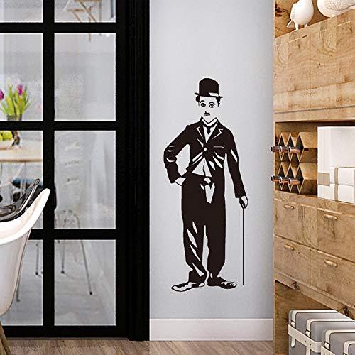 YXWYSQ Papier Peint 3D Charlie Chaplin Portrait Autocollants de Porte de Placard personnalité créatrice Chambre Salon peintures murales décoratives