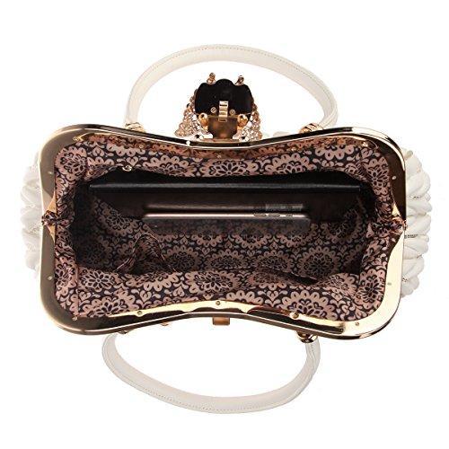 Pu For Chain Butterfly Tassel Bag Bonjanvye Straps Large With White Women Tote Handbags UB6qn4wF