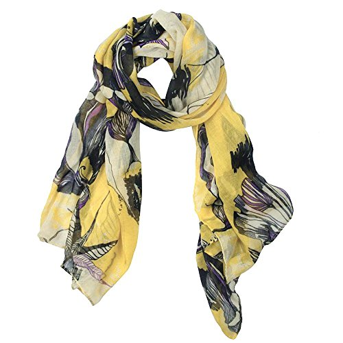 eFuture(TM) Yellow Fashion Begonia Flower Ink Style Soft & Warm Long Chiffon Shawls Scarves Wrap For Women/Lady +eFuture's nice Keyring