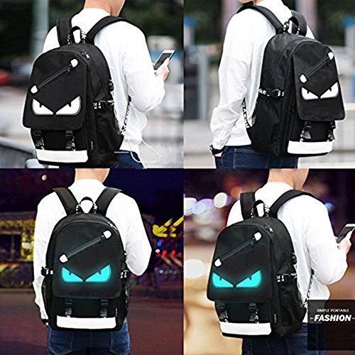 7d98de9c6497 Kalakk Anime Luminous Backpack Noctilucent School Bags Daypack USB  Chargeing Port Laptop Bag Handbag