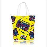 Best  - Reusable Cotton Canvas Zipper bag retro pop eighties Review