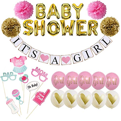 Baby Shower Decorations for Girl - Its A Girl Banner Decoration Set for Baby Shower - Pink and Gold - Complete and Practical Party Bundle - Lovely Photo Props Included - Money & Time Saver
