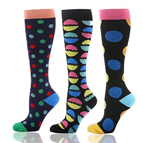 HLTPRO Compression Socks for Women & Men (20-30mmHg) - Athletic Compression Stockings Fit Running, Nurses, Sports, Medical, Flight Travel, Pregnancy... (3 Pairs Easter Eggs, L/XL)