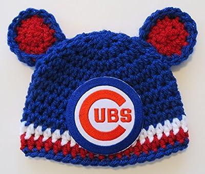 Crochet Chicago Cubs Hat Size 0-3 months