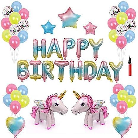 RLGPBON Unicornio Decoración de cumpleaños para niña, Feliz cumpleaños Conjunto de pancartas Unicornio Papel de Aluminio Globo Látex Confeti Fiesta en ...