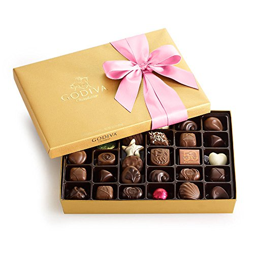 Godiva Chocolatier Assorted Chocolate Gold Gift Box, Pink Ribbon, Easter Chocolate, Easter Gift, Gourmet Chocolate, 36 Count