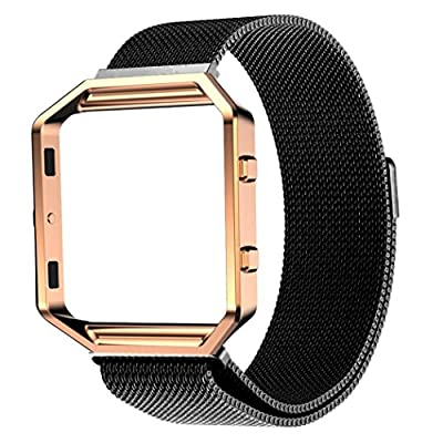 Fitbit Blaze Accessory Band, Mixca® Milanese Magnetic Stainless Steel Watch Band + Metal Frame For Fitbit Blaze