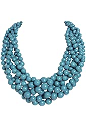 Humble Chic Women's Twisted Bauble Necklace Multistrand Torsade Statement Beads