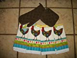 Cute Rooster Love Laugh Live Dish Towel Set
