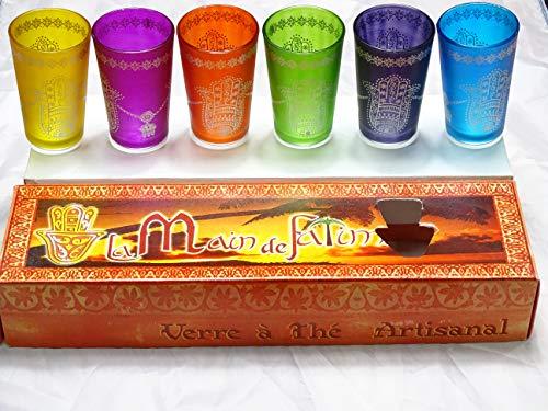 6 Vasos MARROQUIES DE Mano DE Fatima, Multicolor, ARTESANALES - Calidad Y DISEÑO -KENTA ARTESANIAS