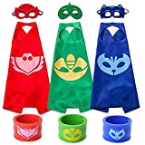 Cartoon Hero Mask Costumes and Dress Up for Kids - Pajama Heroes Catboy Owlette Gekko Capes Bracelet and Mask 3 Sets