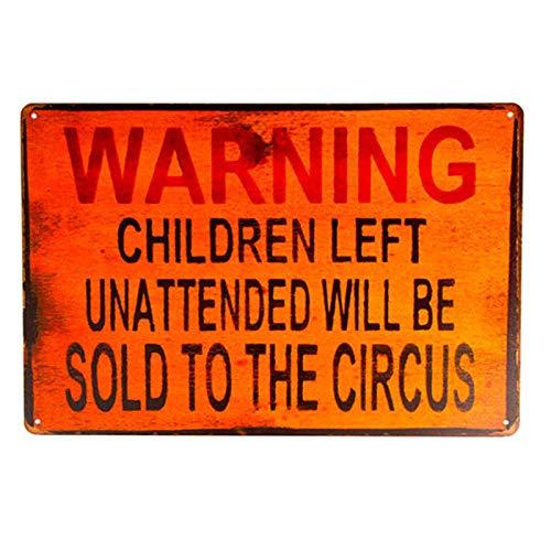 dingleiever-TIN Sign Warning Children Circus Metal Decor Art Kitchen Store Ranch Bar
