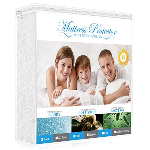 AdorioPower Twin Size Mattress Protector, 100% Waterproof & Hypoallergenic Cover Cotton Terry Surface, Vinyl-Free Breathable, Machine Washable (White)