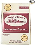 Amish Country Popcorn -10 Bags Microwave Ladyfinger Butter - Old Fashioned Microwave Popcorn - Gluten Free, and Non GMO - with Recipe Guide