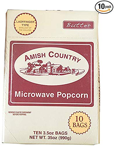 Amish Country Popcorn -10 Bags Microwave Ladyfinger Butter - Old Fashioned Microwave Popcorn - All Natural, Gluten Free, and Non GMO - with Recipe Guide